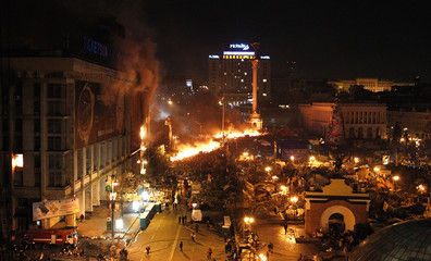 A general view shows clashes at Independence Square in Kiev