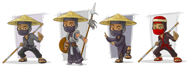 Cartoon masked ninja warriors character vector set