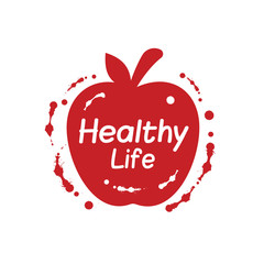 Healthy life lettering with red apple template design.
