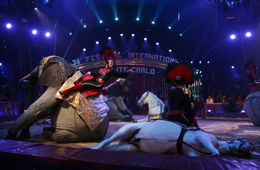The German Casselly family perform with African elephants and horses during the opening ceremony of the 36th International Circus Festival of Monte Carlo