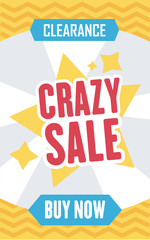 Social media crazy sale banner. Vector illustrations for website and mobile website banners, posters, email and newsletter designs, ads, promotional material.