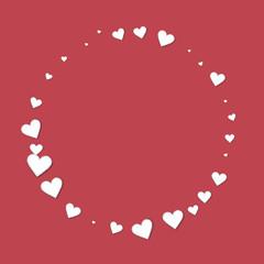 Beautiful paper hearts. Round shape on crimson background. Vector illustration.