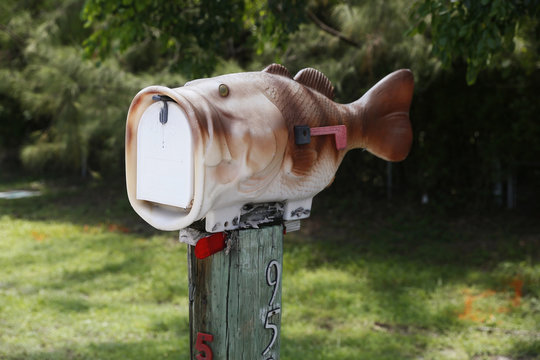 A mailbox in the shape of a fish is seen along the highway US-1 in the Lower Keys near Key Largo in Florida