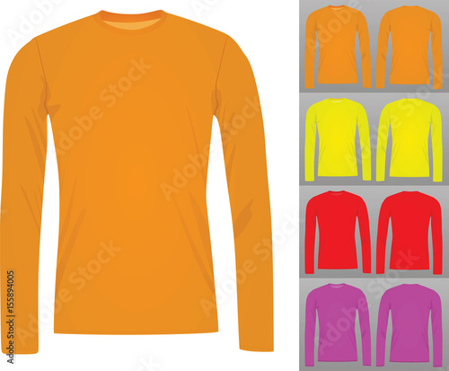 Set of colorful long sleeve t shirt template vector stock image and set of colorful long sleeve t shirt template vector maxwellsz
