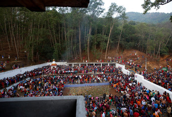 Devotees gather at Matathirtha to commemorate their departed mothers during Mother's Day in Kathmandu