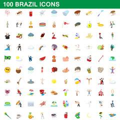 100 brazil icons set, cartoon style