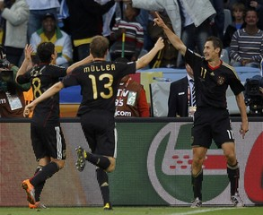 Germany's Klose celebrates after scoring against Argentina during their 2010 World Cup quarter-final soccer match at Green Point stadium in Cape Town