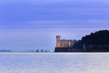 Miramare Castle at dusk, Trieste, Friuli Venezia Giulia, Italy