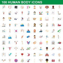 100 human body icons set, cartoon style