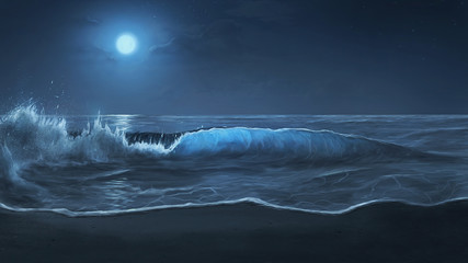 Moonlit ocean waves