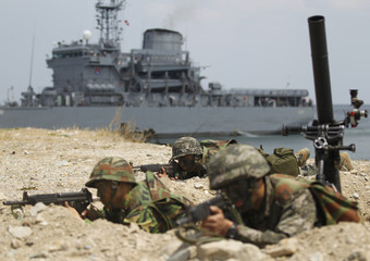 South Korean marines participate in a U.S.-South Korea joint landing operation drill in Pohang