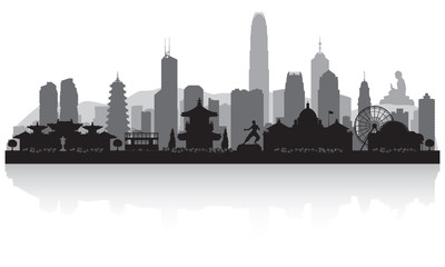Fototapete - Hong Kong China city skyline silhouette