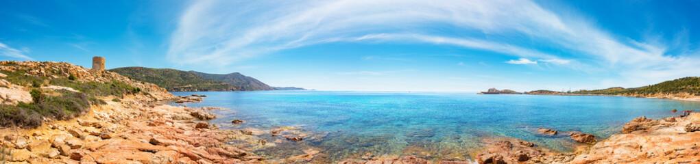 "Panoramic view of typical view of mediterranean sea in a sunny day - Sardinia, Teulada ""Porto Tramatzu"""