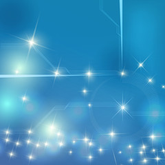abstract vector shining blue star and line for technology concept