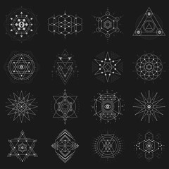 Sacred geometry set on black background