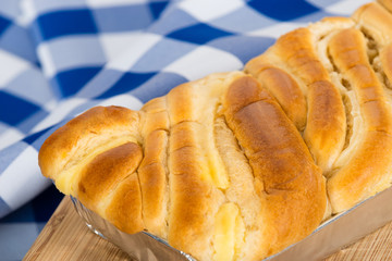 French Brioche. Sweet bread loaf with vanilla flavor filling.