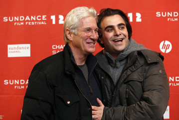 "Gere poses with Jarecki at the premiere of the film ""Arbitrage"" at the Eccles theatre during the Sundance Film Festival in Park City"