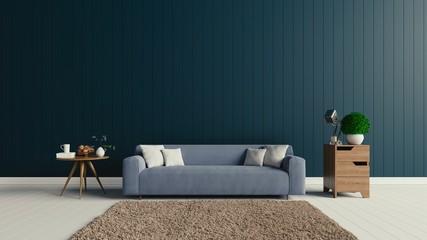 Inside, there is a sofa in dark grey floor blank display,3D rendering