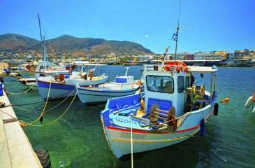 Boats in the old port of Chersonissos. Crete, Greece. Fishing schooners.