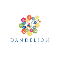 Illustration of concept logo of dandelion. Vector