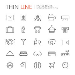 Collection of hotel and travel thin line icons
