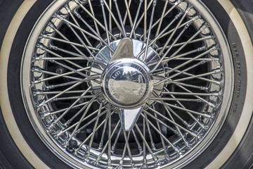 Wire wheel of classic mid-20th century sports car