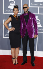 Alicia Keys and Swizz Beats arrive at the 54th annual Grammy Awards in Los Angeles