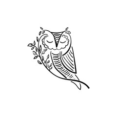 Concept illustration of owl with branch and leaf. Vector design