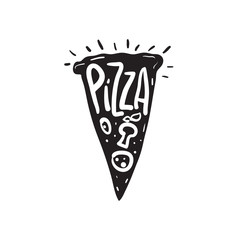 Abstract pizza slice with text. vector illustration
