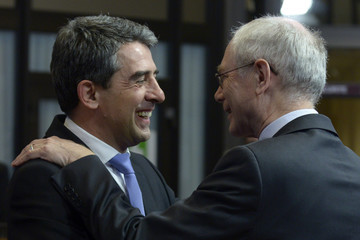 European Council President Van Rompuy welcomes Bulgarian President Plevneliev ahead of a meeting at the European Union Council in Brussels
