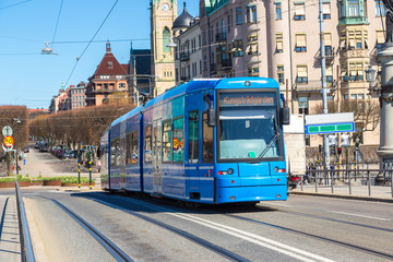 Modern tram in Stockholm