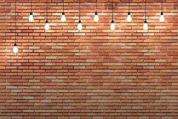 brick wall with bulb lights lamp. nice brick show room with spotlights.