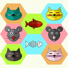 Set of Flat different Emotional faces of cats and mice. Flat icons skeleton fish and magic fish . Vector illustration.