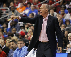 Philadelphia 76ers coach Doug Collins shouts instructions to his team while playing against the Denver Nuggets during their NBA basketball game in Philadelphia