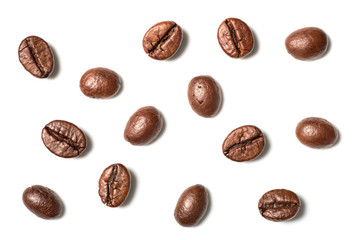 roasted coffee beans on white, top view