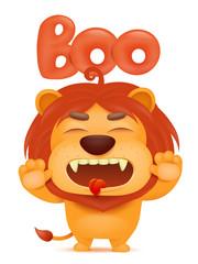 Lion cartoon emoji character saying boo