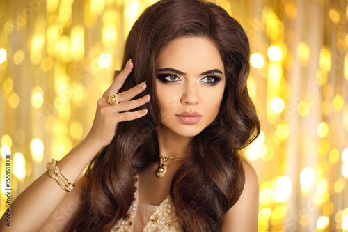 """""""Beautiful Fashion Woman In Gold. Elegant Brunette With"""