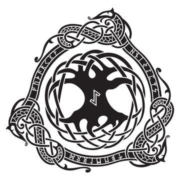 Yggdrasil. Scandinavian design. The tree Yggdrasil in Nordic pattern.