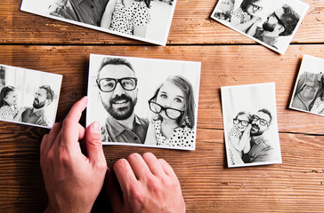 Fathers day concept. Black-and-white pictures, studio shot.