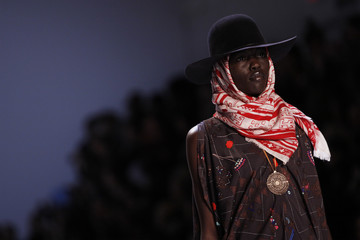 A model presents a creation from the Mara Hoffman Fall/Winter 2012 collection during New York Fashion Week