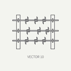 Line flat vector military icon - barbed wire. Army equipment and weapons. Cartoon style. Army. Assault. Soldiers. Armament. Ammunition. Vector illustration and element for your design and wallpaper.