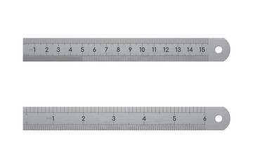 Realistic metallic ruler, front and back view