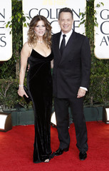 Actor Tom Hanks and wife actress Rita Wilson arrive at the 68th annual Golden Globe Awards in Beverly Hills