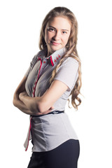 Young business girl on isolated background