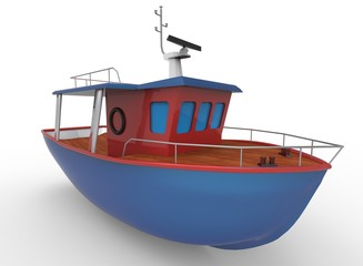 3d illustration of cartoon boat. white background isolated. icon for game web.
