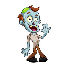 Foto auf Leinwand Bauernhof Funny zombie to celebrate halloween party