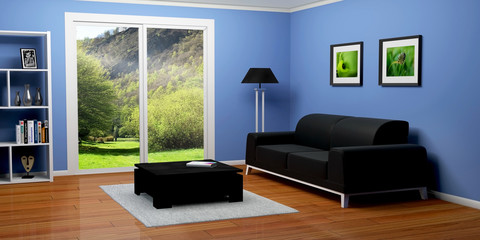 intérieur maison salon 3D