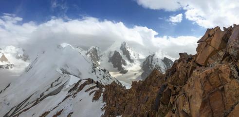 Climbers on the way to the top. Kyrgyzstan. Pamir.