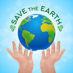 Eco poster of two human hands holding planet Earth.