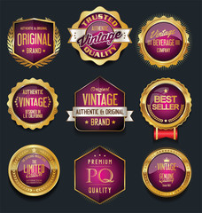 Sale retro vintage golden badges and labels